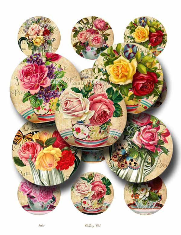 VICTORIAN TEA 2 Inch Circles Digital Collage Sheet by GalleryCat