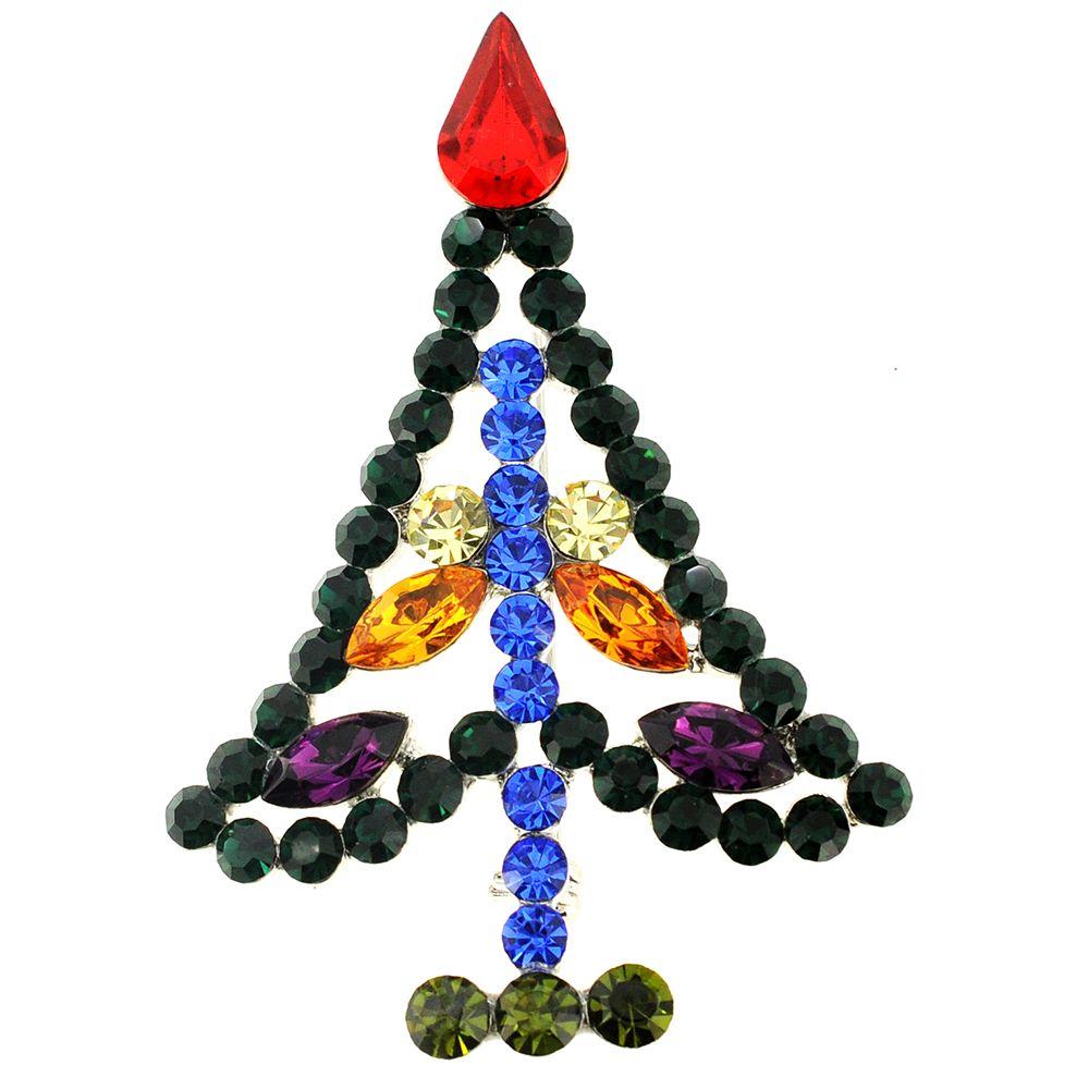 Multicolor Christmas Tree Crystal Pin Brooch