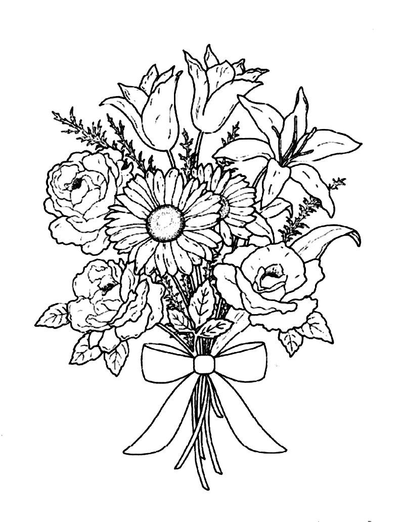 Download Flower Bouquet For Special Occasion Coloring Pages Or