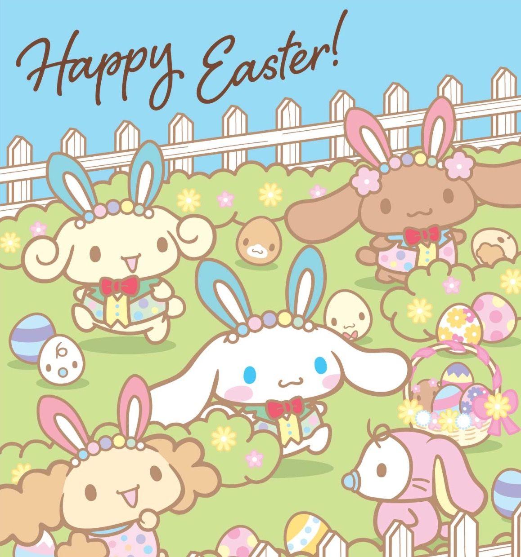 Happy Easter Cinnamoroll ٩ ๑ ᴗ ๑ ۶ Cute Cartoon Wallpapers Hello Kitty Easter Wallpaper