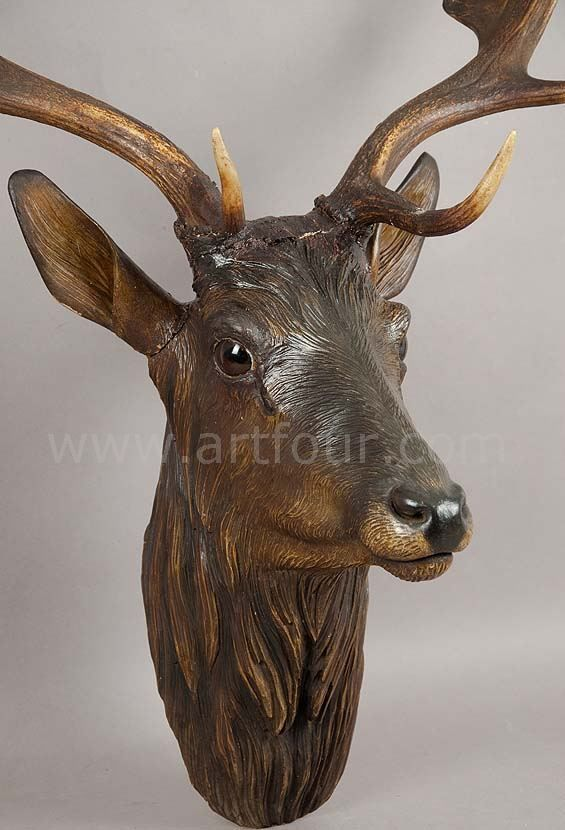 Great antique black forest carved wood fallow deer head