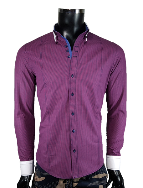 01b258ff88 Koszula męska slim - bordowy - Koszule męskie - Awii