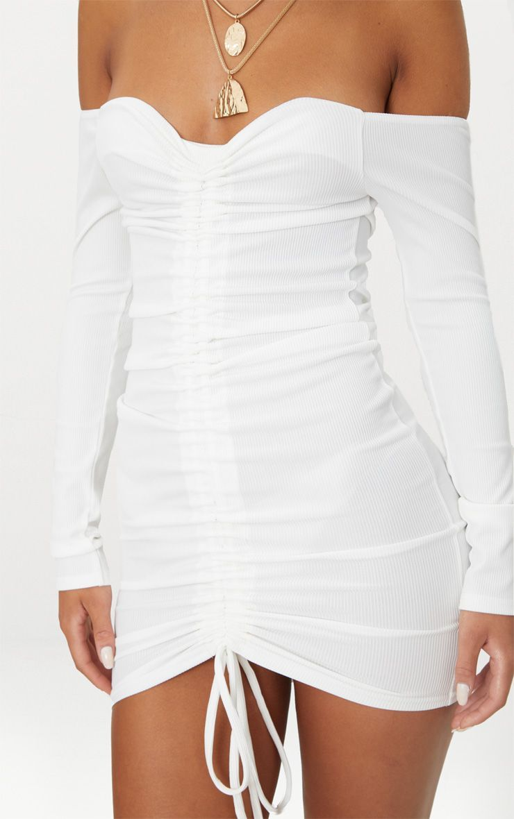 White Ribbed Long Sleeve Ruched Bodycon Dress in 2019  138dc0150710
