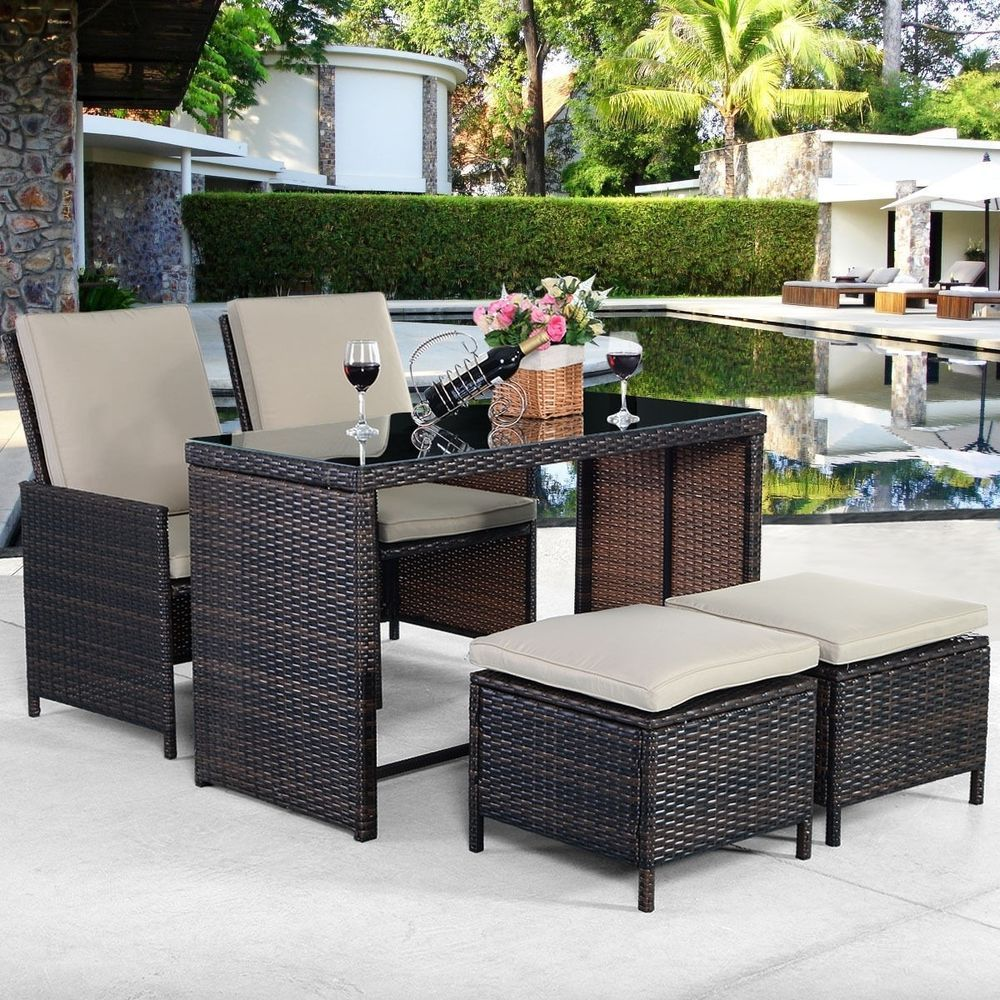 5 Pc Outdoor Cushioned Rattan Patio Set