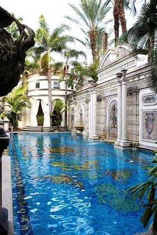 late Gianni Versace's Miami Mansion's 54 foot, 24k gold lined mosaic tiled swimming pool. Versace's Mansion has been converted into an ultra exclusive hotel, nightclub and residence and was renamed