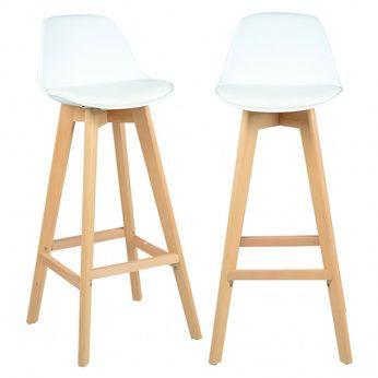 chaise haute scandinave blanche cocktail lot de 2 - Chaises Hautes Scandinaves