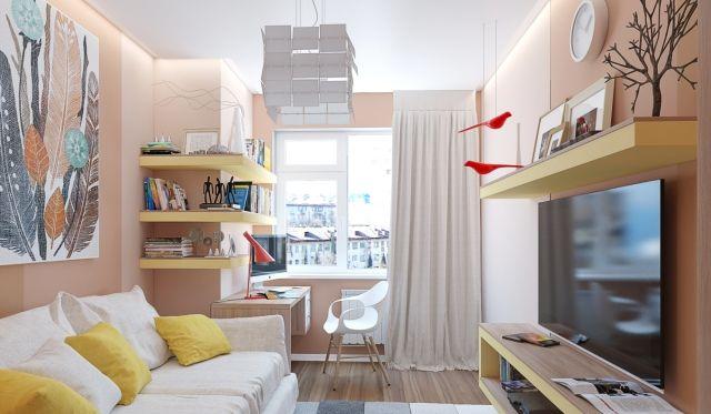 Wandgestaltung jugendzimmer m dchen wandfarbe aprikose gelbe wandregale akzente kinderzimmer for Wandfarbe jugendzimmer junge