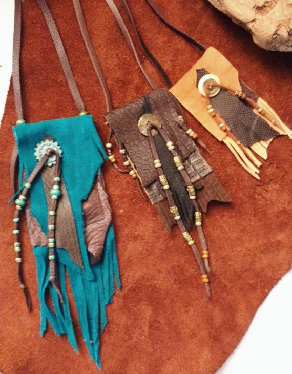 Photo of Brown Rustic Leather Necklace bag, Unisex, Native American Style Bag, Boho Gypsy, Fringe, Spirit Pouch, Tribal Fusion, Medicine Bag