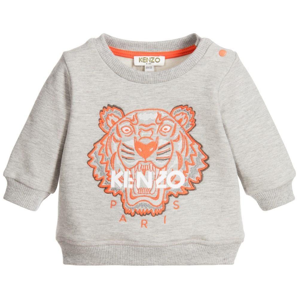 Kenzo Baby Grey Tiger Logo Sweatshirt