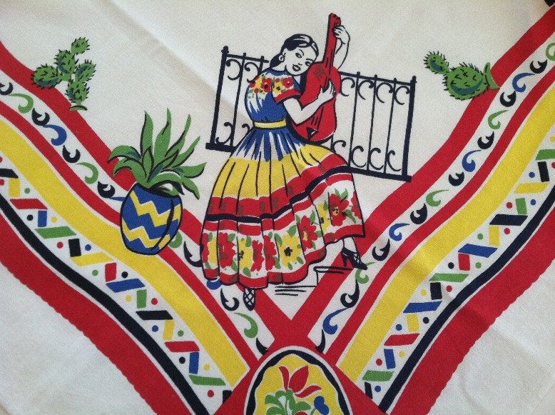 Reduced Vintage Mexican Southwest Printed Tablecloth Kitchen Cloth