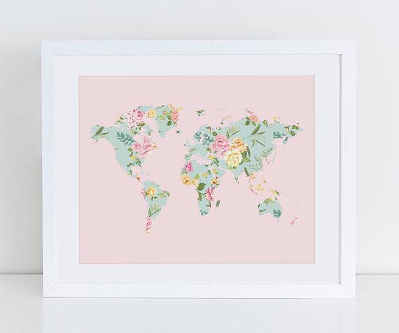 Pink floral world map poster art print instant download printable pink floral world map poster art print instant door decorartdesign gumiabroncs Images