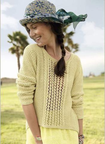 Women\'s Sweater with Lace Knit Pattern in ggh Linova - Rebecca Knit ...