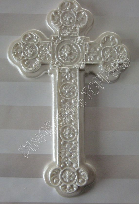 cross cake topper pearl baptism christening cake topper shower cross favor 3193
