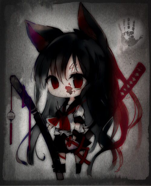 Anime Anime Girl Blood Cute Gore Samurai Werewolf Wolf Wolf Girl