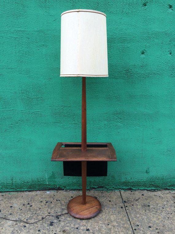 Vintage Mid Century Floor Lamp With Table Magazine By At1stsight Mid Century Floor Lamps Floor Lamp Lamp
