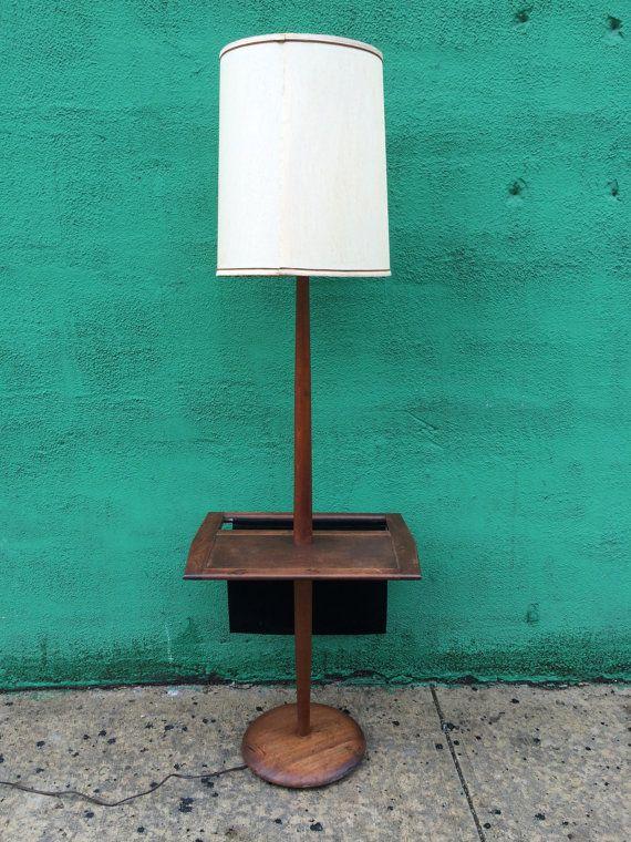 Items Similar To Vintage Mid Century Floor Lamp With Table U0026 Magazine Rack  On Etsy