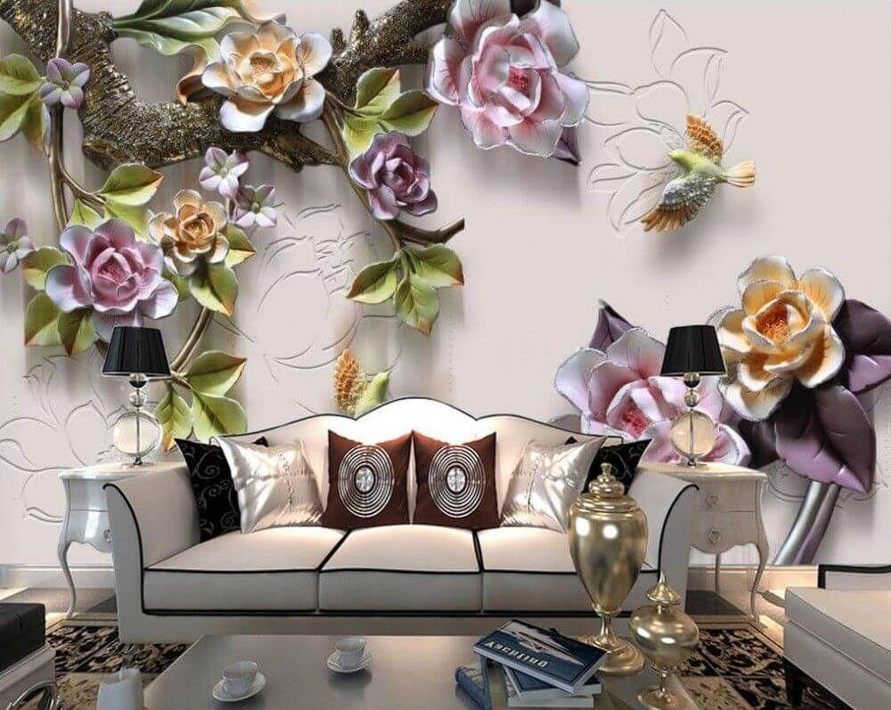 Fototapeta Kwiaty Stuck 25130 Uwalls Pl In 2021 Floral Wallpaper Wall Murals 3d Wallpaper For Room