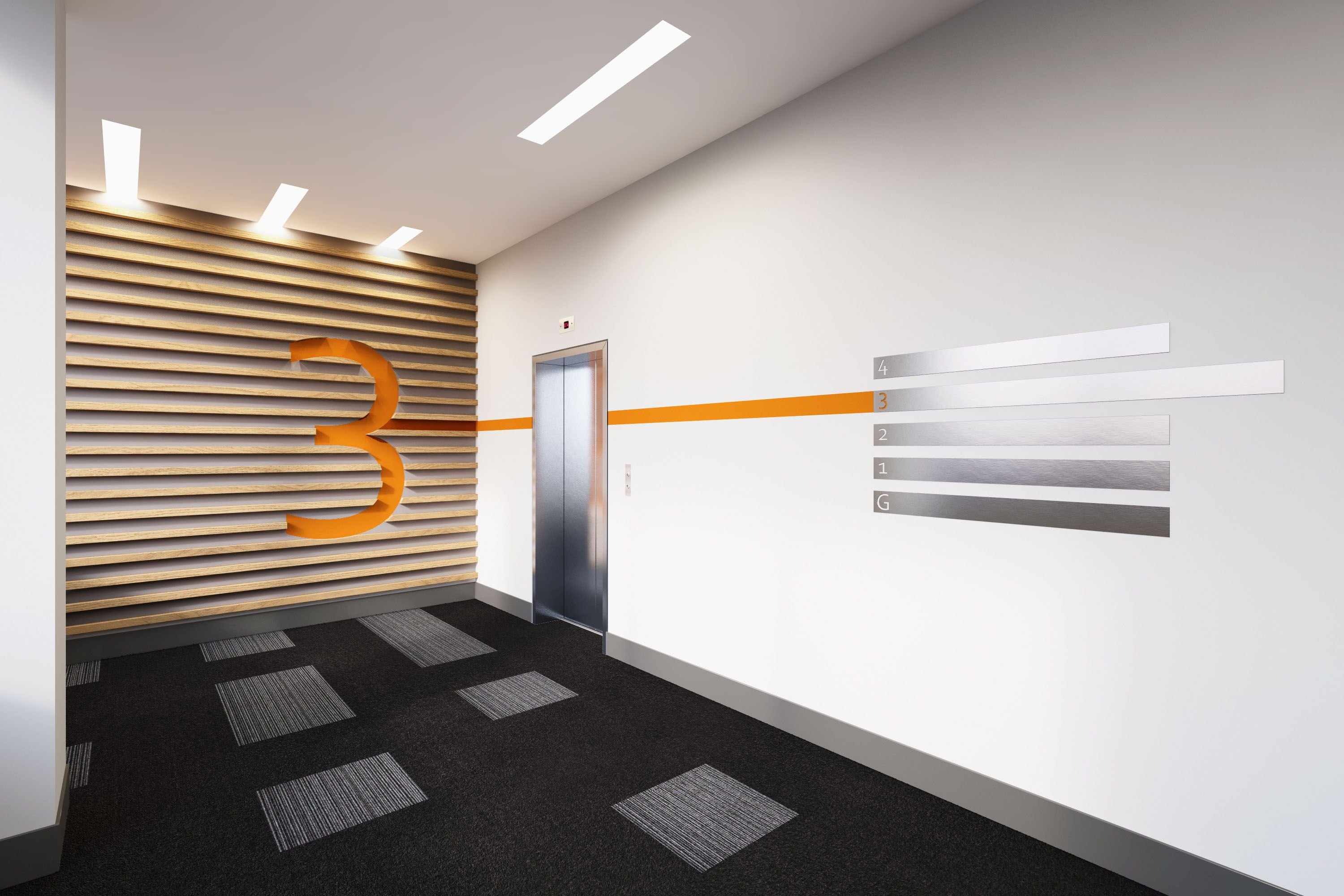 Crave ID. Queens Dock. Lift lobby. Way finding
