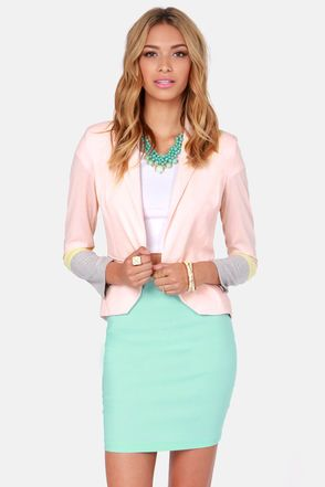 Block This Way Peach Color Block Blazer | Traditional, Colors and ...