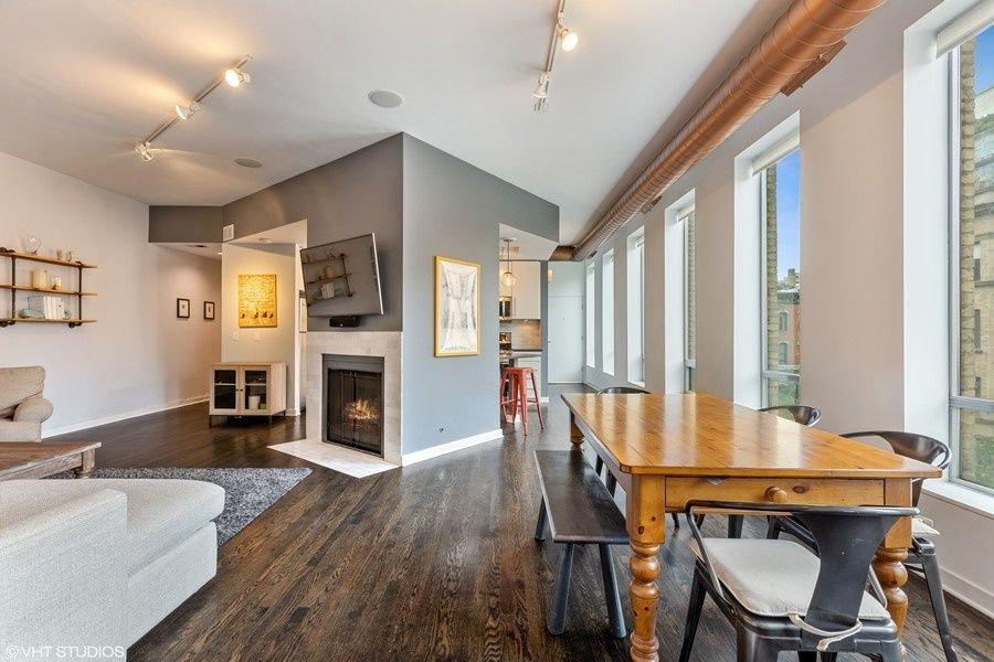 The fireplace in this 2 bedroom condo for rent in Chicago