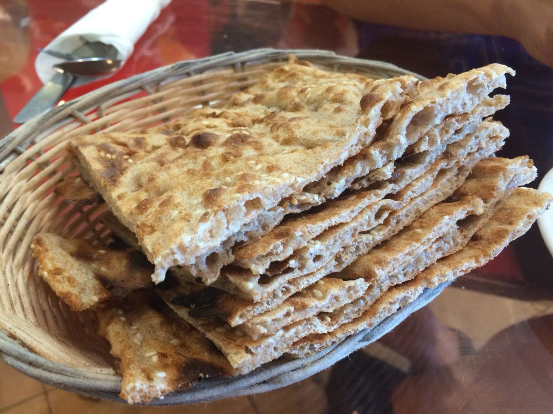 Fresh baked sangak flatbread from asal bakery in woodland