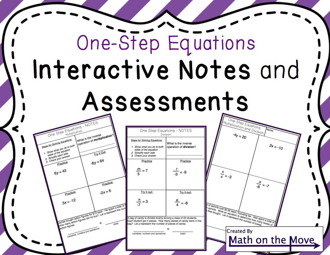 Note Taking Guide For One Step Equations Includes A Pre