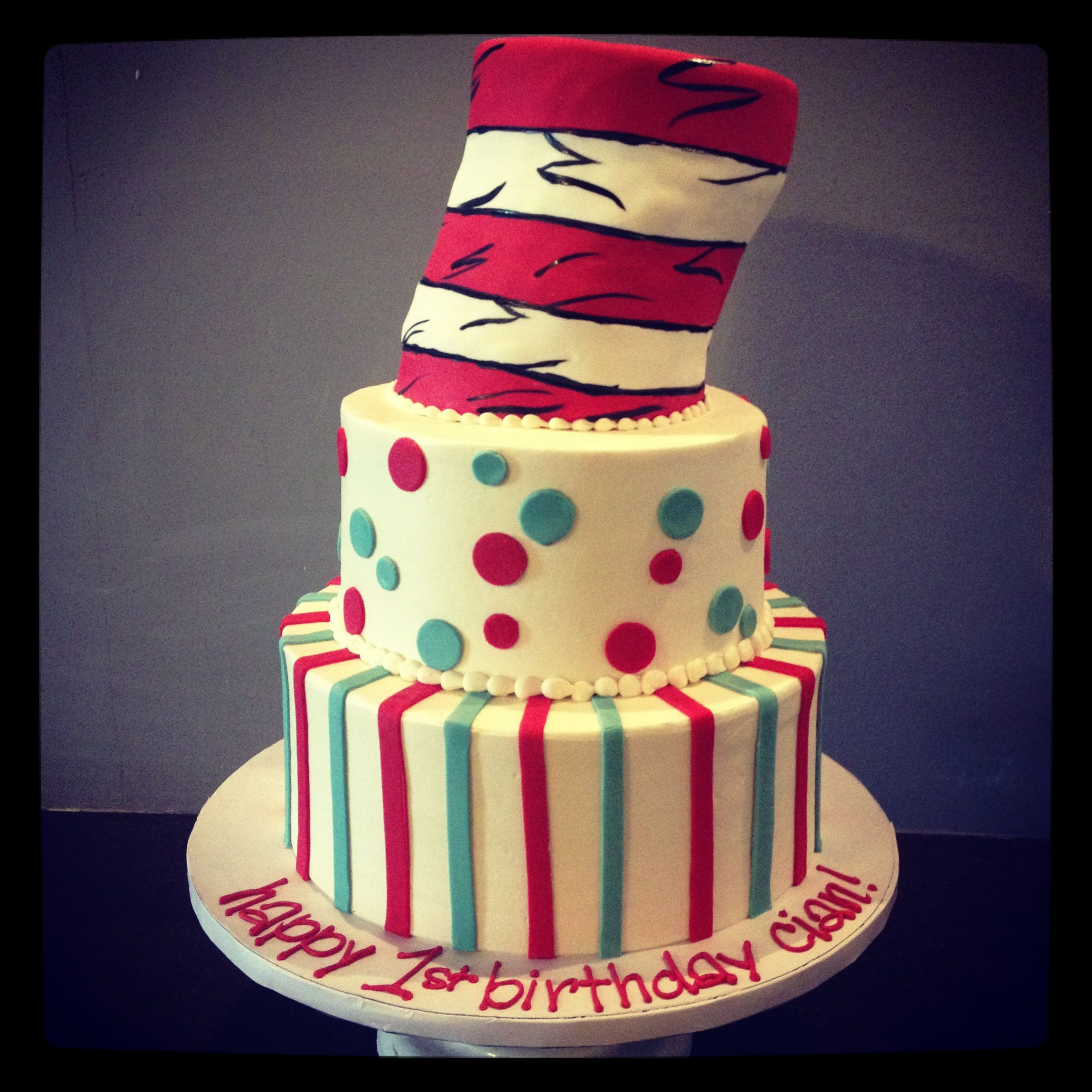 Dr Seuss first birthday cake Camis Cake Co in Eudora Kansas
