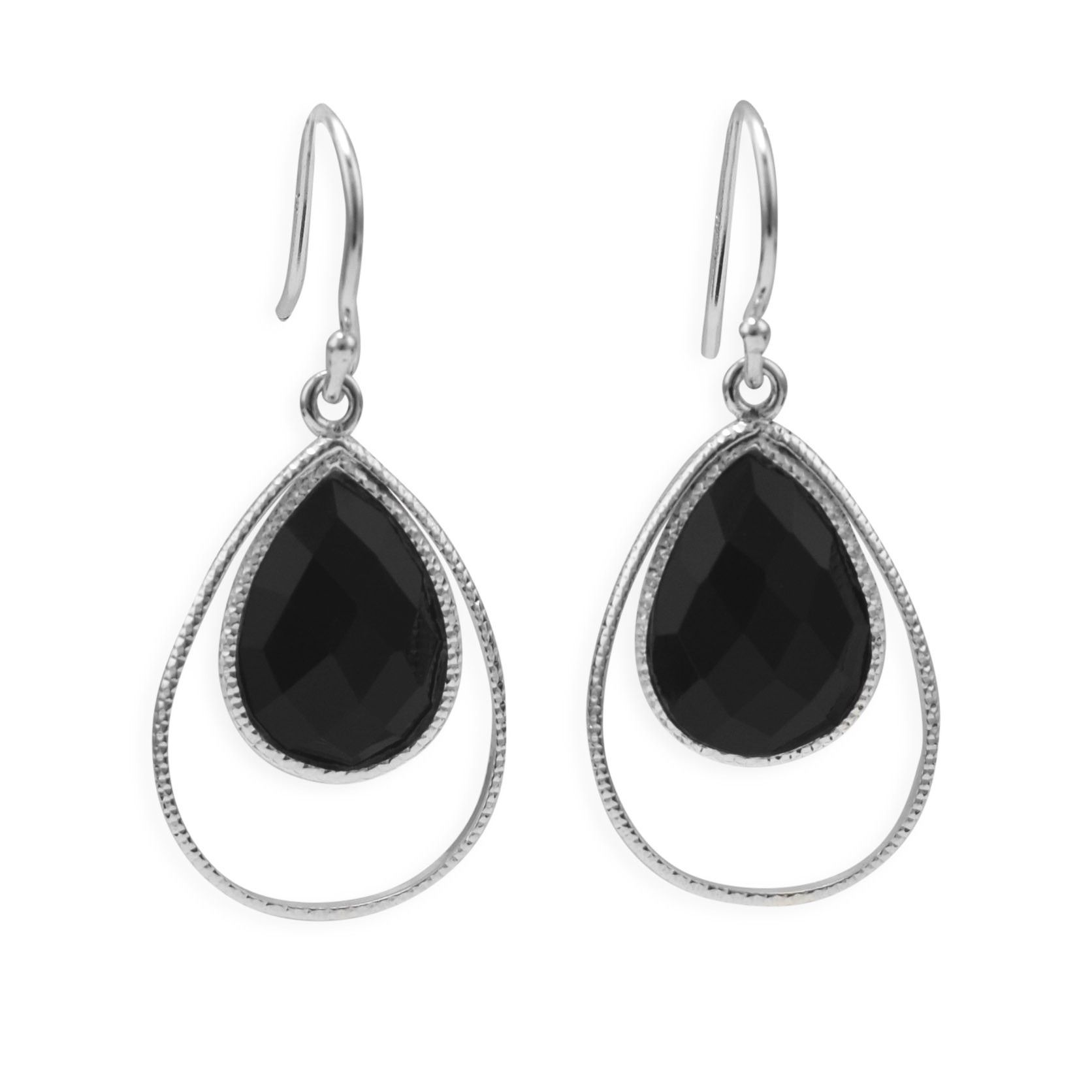 Sterling Silver Rings Earrings With Black Onyx Pear Drop