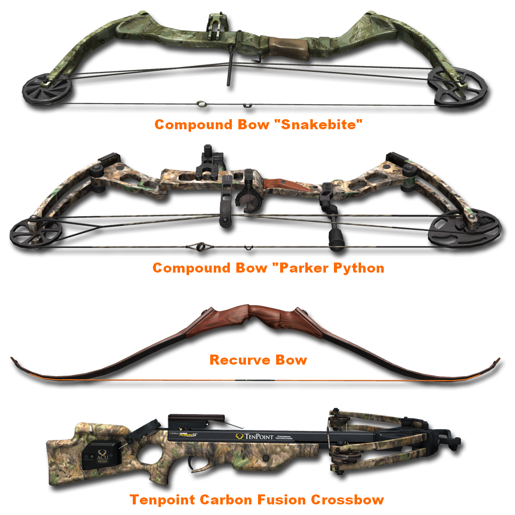 The 4 most commonly used hunting bows. I wanna go retro and use an English Longbow! XD