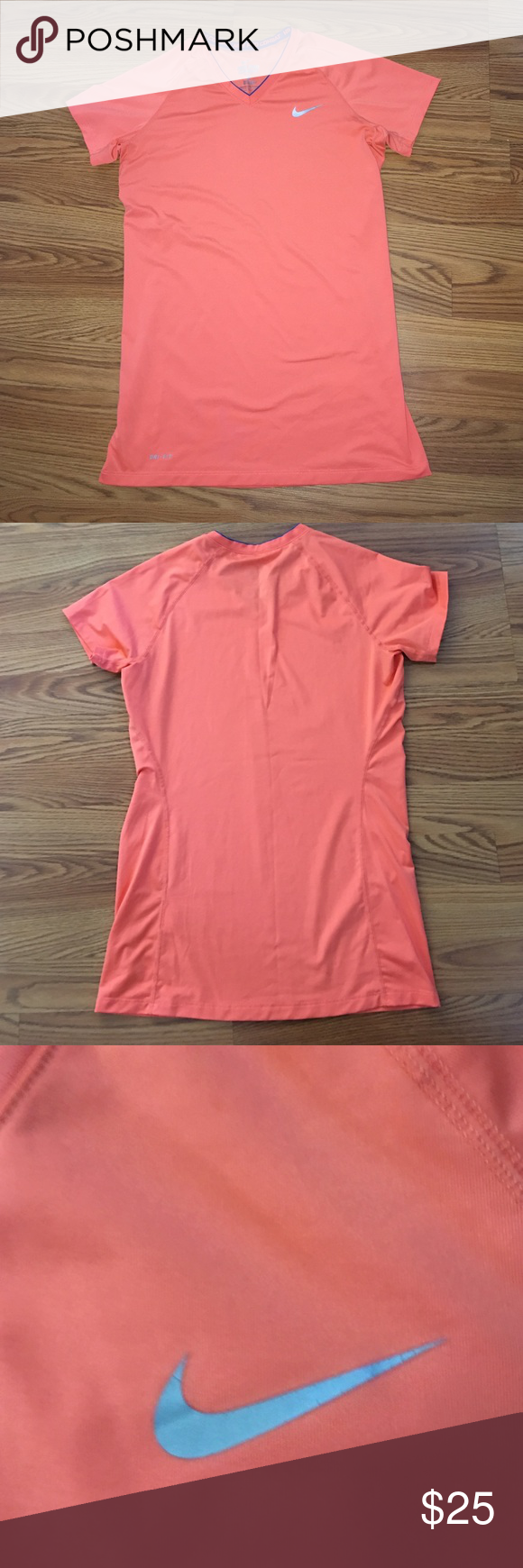 🆕Nike Pro Combat Fitted V- Neck Shirt NWOT Women's Nike Pro Combat Fitted V- Neck Shirt~ Melon Nike Tops Tees - Short Sleeve