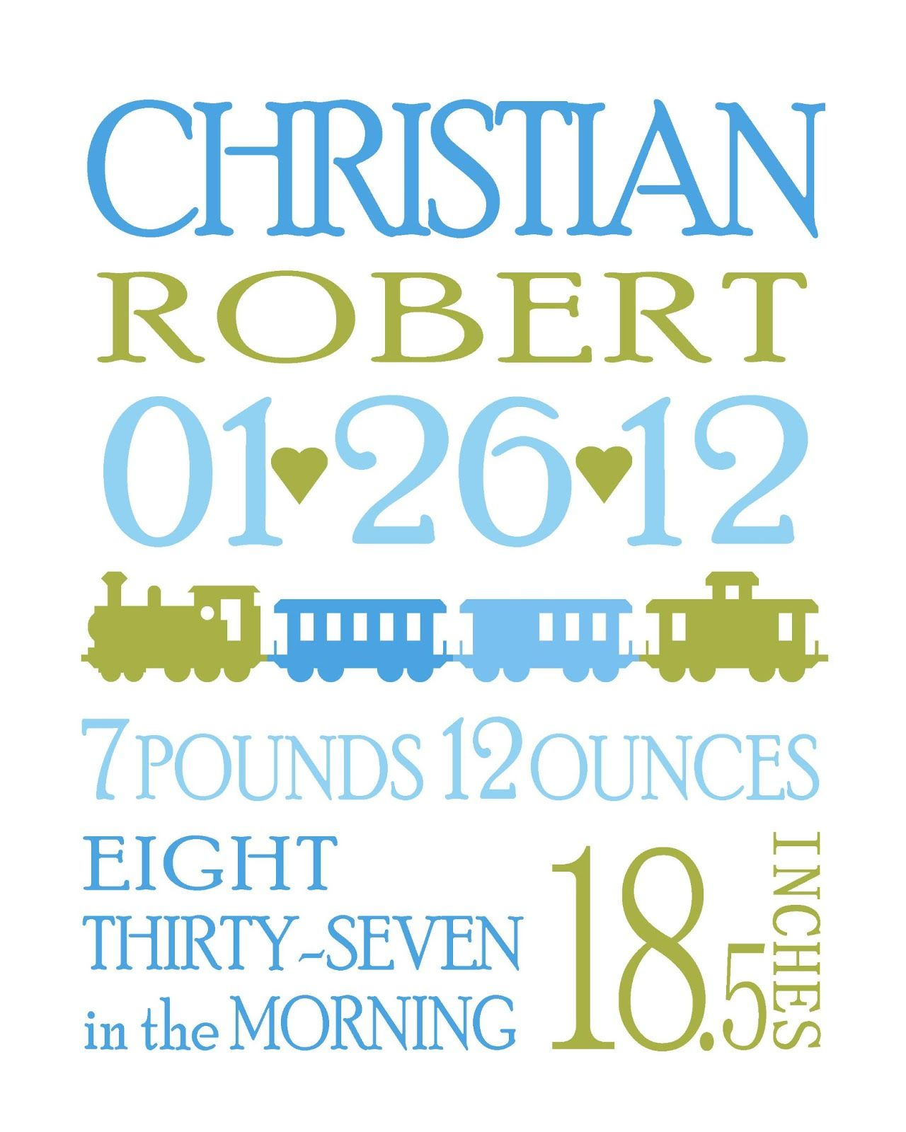 i designed this personalized birth announcement for a good friend of