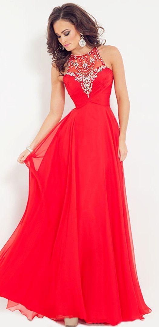A Line Princess Scoop Sleeveless Beading Floor Length Chiffon Dresses Long Prom