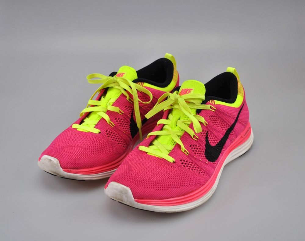 Nike Women's Flyknit One+ Lunar1+ Shoes Size 8.5 Pink Black Fireberry 554888  606 #Nike #