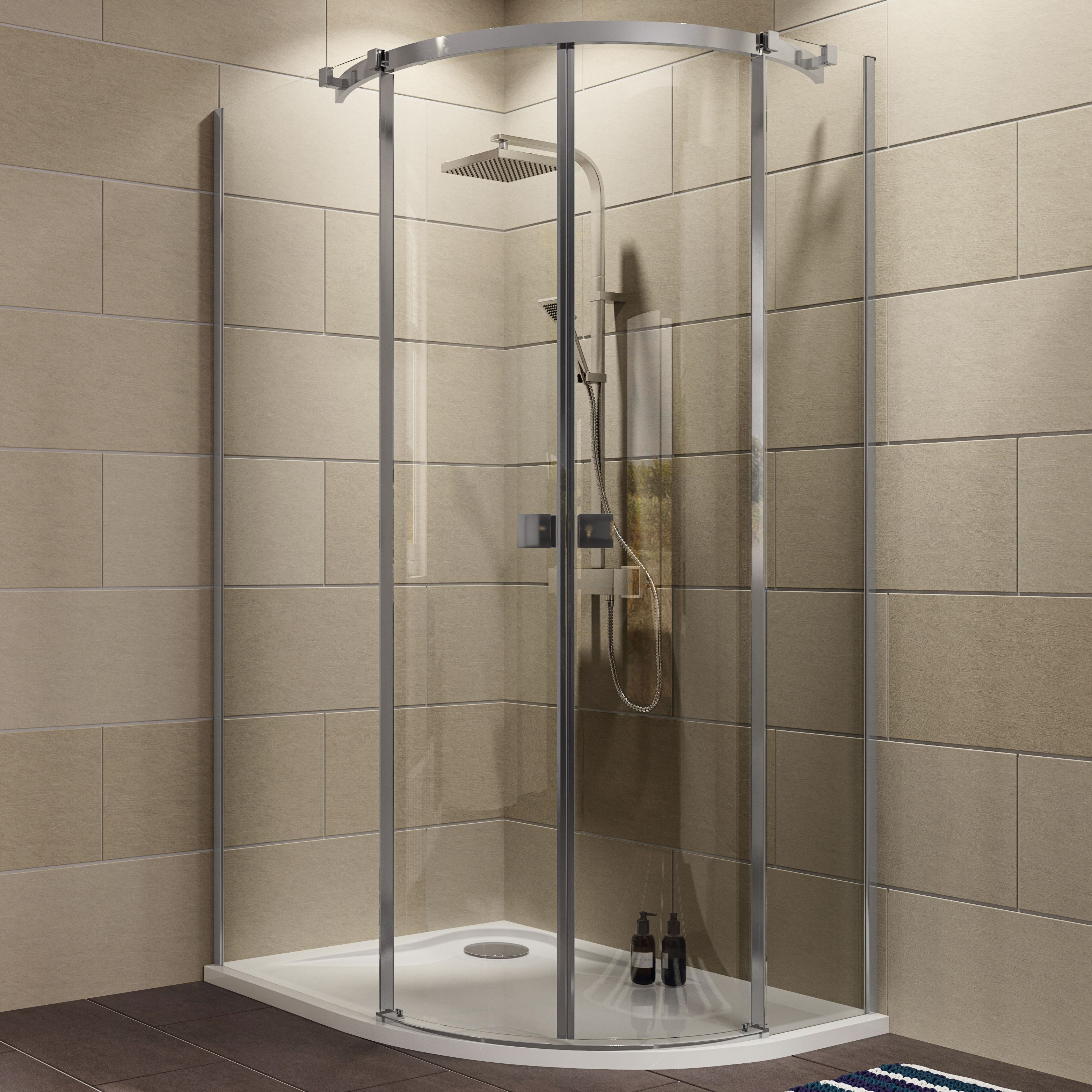 Cooke & Lewis Luxuriant Offset quadrant Shower enclosure, tray ...