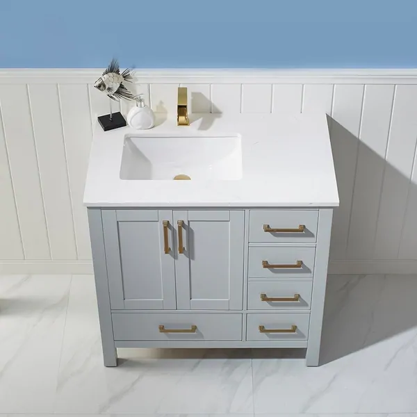 Shannon 36 Single Vanity In Paris Grey With Artificial Fine White