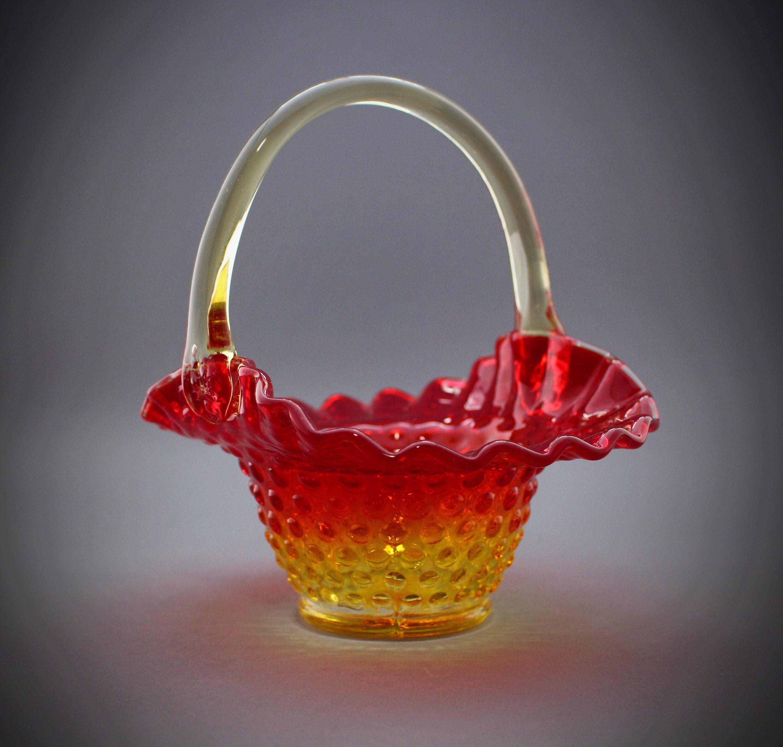 Vintage Amber Glass~fenton Hobnail Ruffled Basket Great Varieties