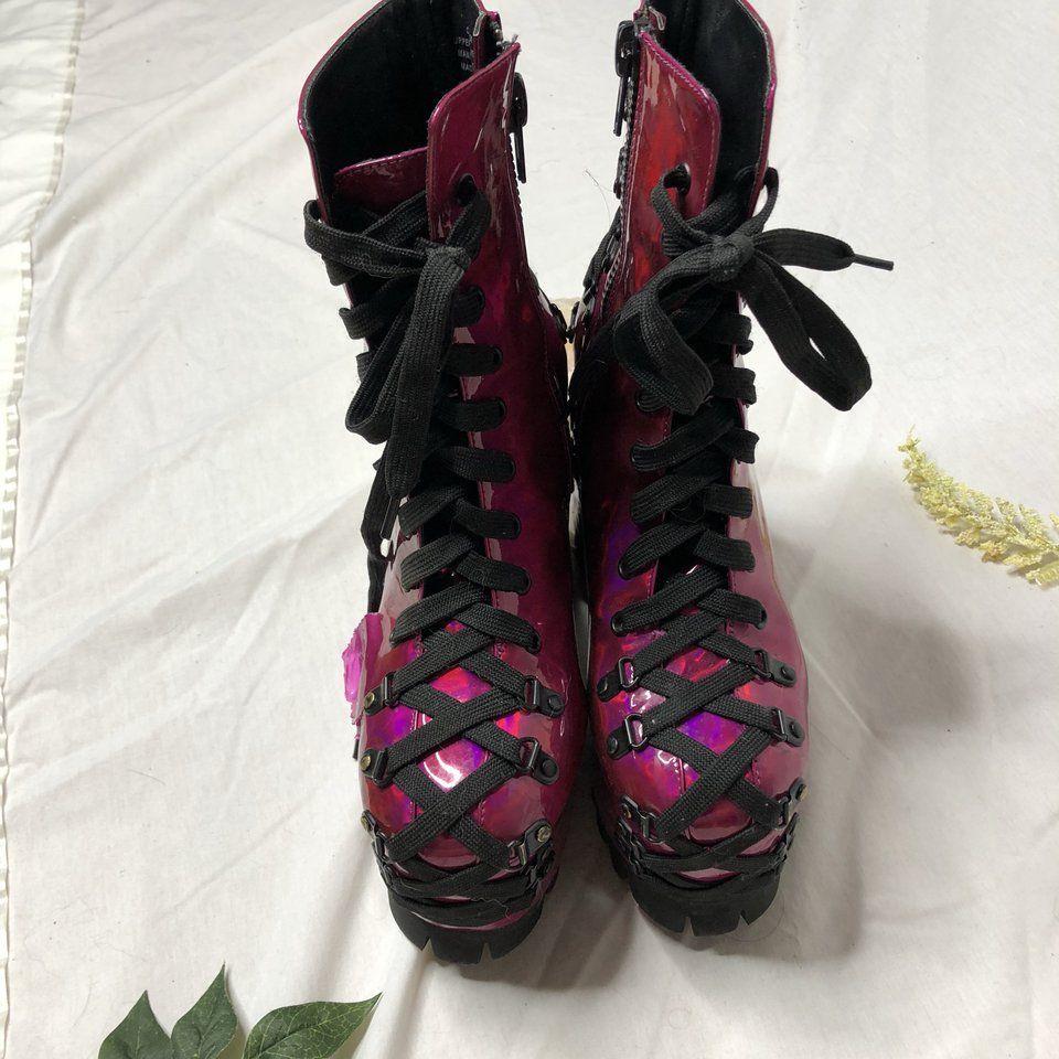 3ead30832 Dolls Kill Club Exx Electric Dreams Corset boots in size 8. - Depop ...