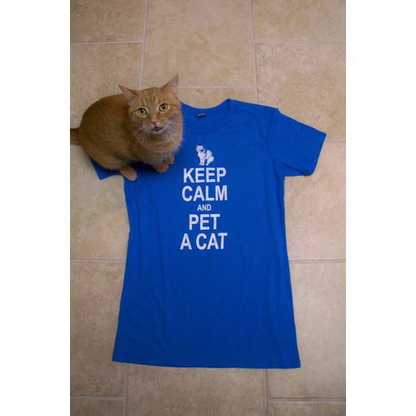 Cat Shirt Keep Calm and Pet a Cat Womens T-Shirt Funny T-Shirt Cat... ($23) ❤ liked on Polyvore featuring tops, t-shirts, black, women's clothing, black tee, animal t shirts, checkered shirt, animal print shirts and graphic tees