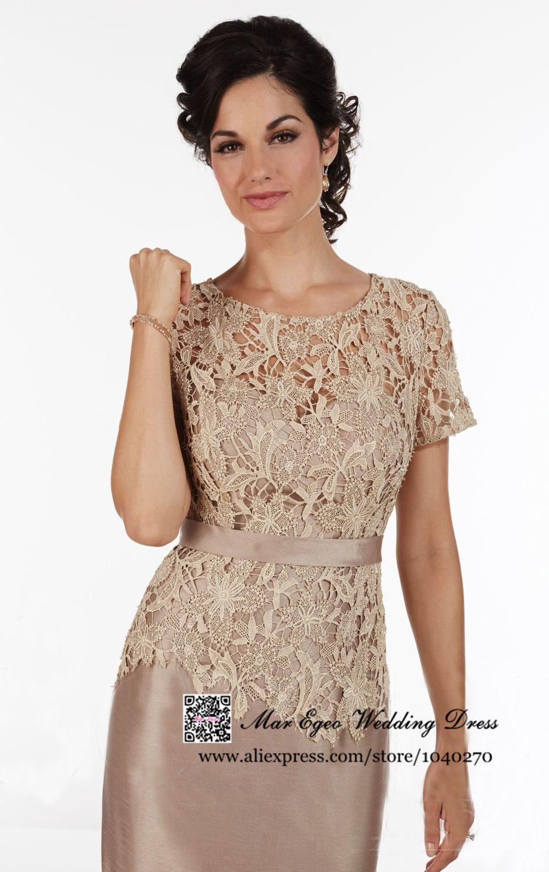 Vestido De Festa Curto Sheath Lace Short Sleeves Mother Of The Bride ...
