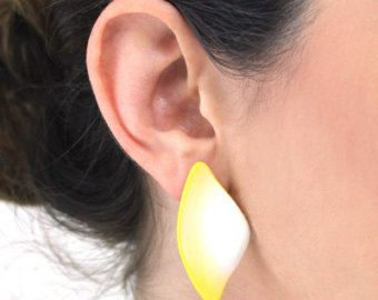 Polymer Yellow White tail Earrings Plastic Earrings Yellow White Earrings Stud Earrings Jewelry earrings ,Designer Unique earrings 2118 - Edit Listing - Etsy