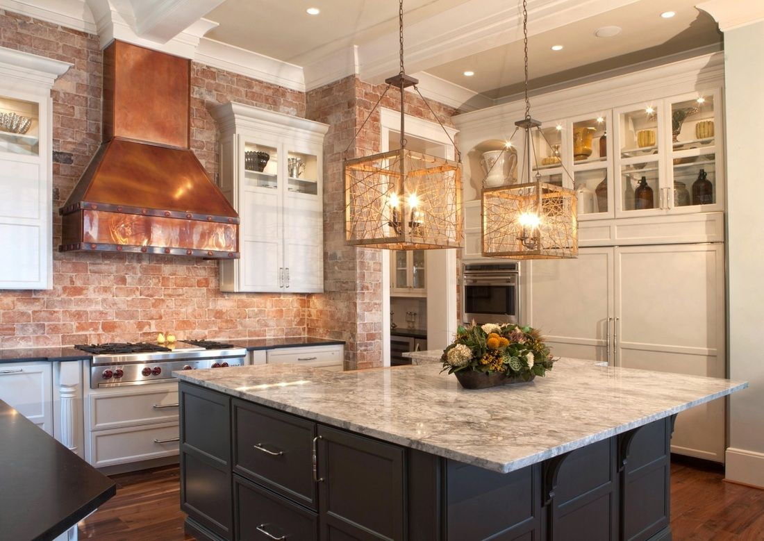 Best Custom Kitchen With Brick Walls Copper Vent Hood And 400 x 300