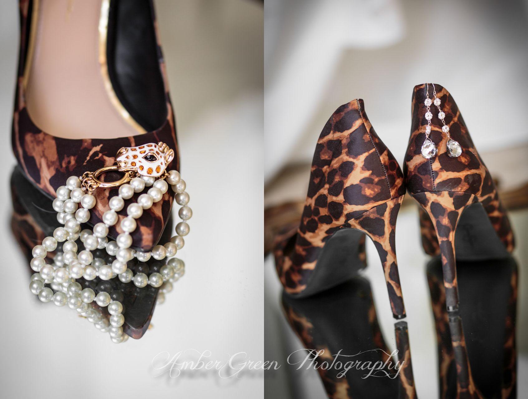 Wedding photography- St. Louis Animal print wedding shoes. Giraffe bracelet. Wedding jewelry.