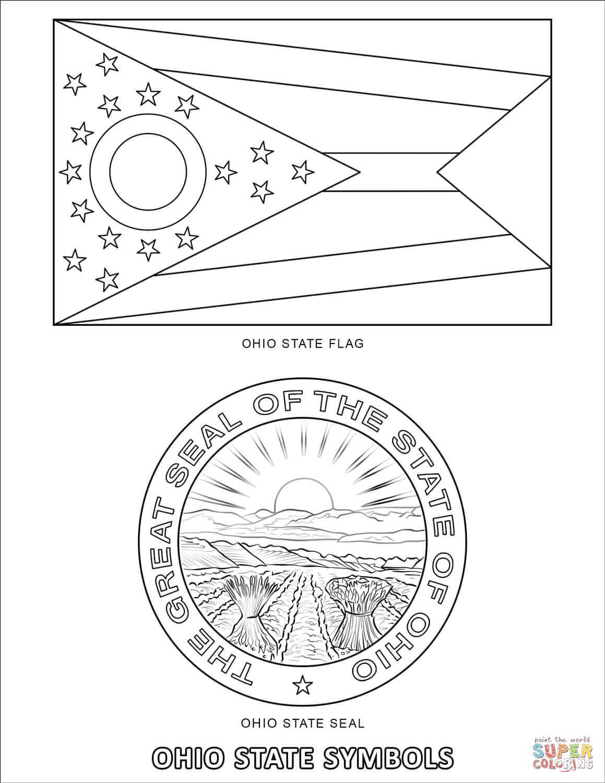 Ohio State Symbols Coloring Page Free Printable Coloring Pages Flag Coloring Pages Ohio Flag State Symbols