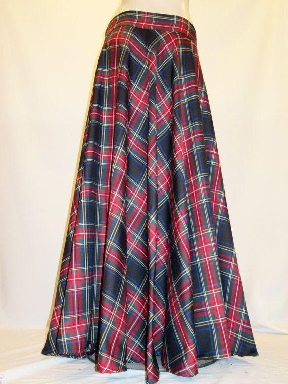 Black Stewart Floor Length Skirt Red Black Plaid Full