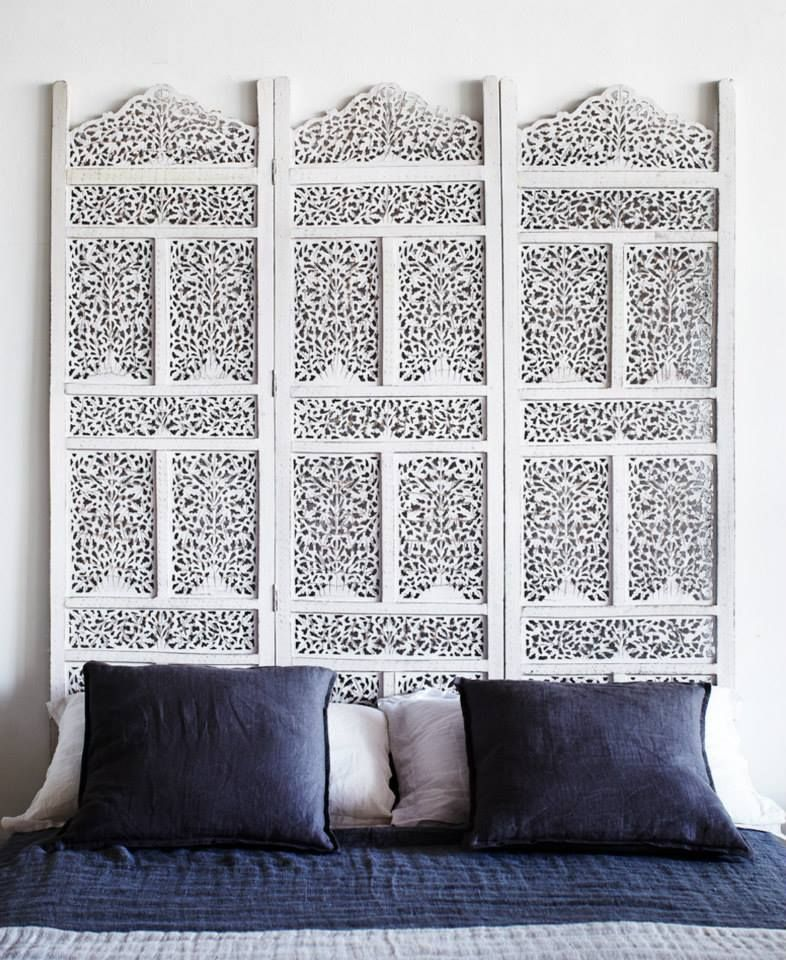 White Floral Screen With Decorative Wood Carvings As Headboard Room Divider Headboard Room Divider Ideas Studio Wooden Room Dividers