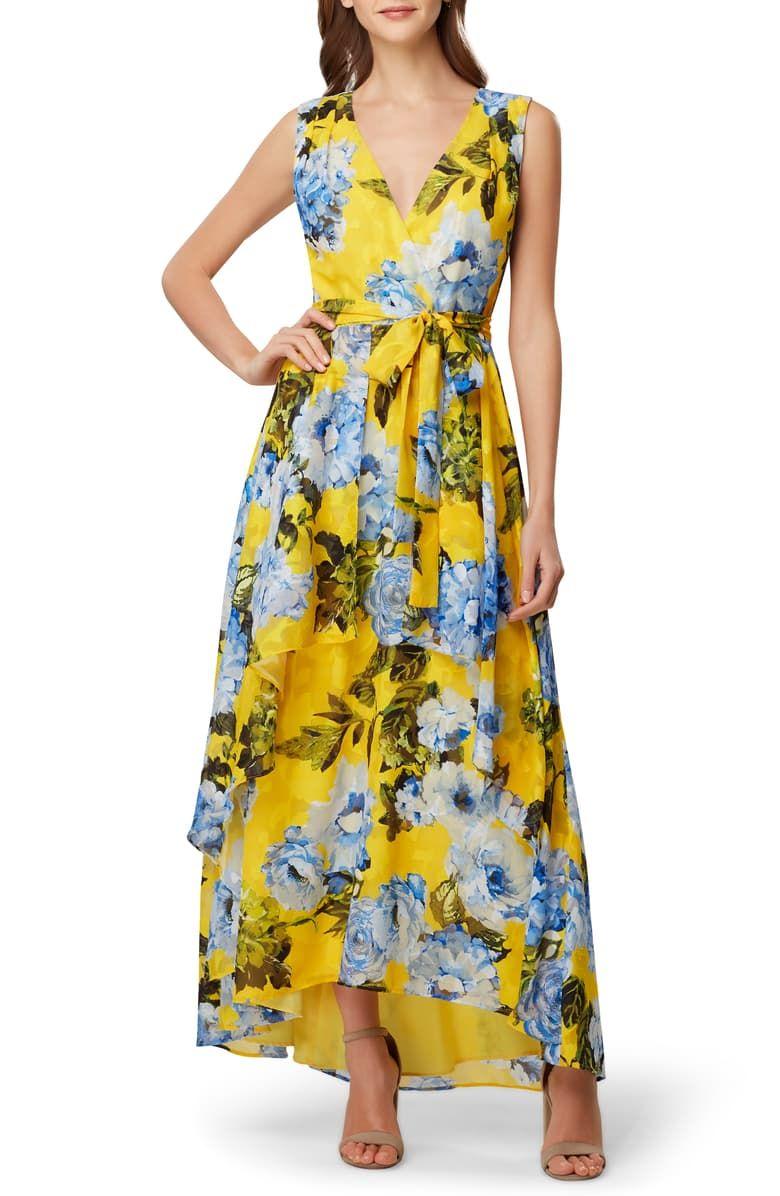 Tahari Sleeveless Jacquard Maxi Dress Nordstrom Maxi Dress Floral Print Chiffon Maxi Dress Fashion Clothes Women [ 1196 x 780 Pixel ]