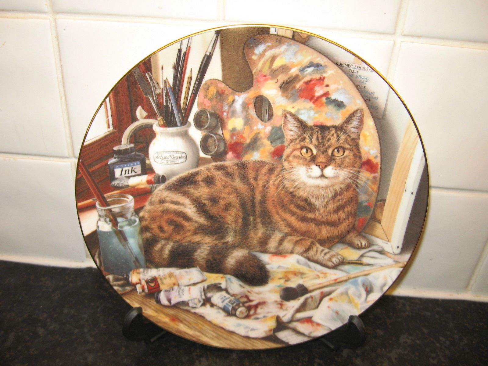 CATS OF CHARACTER PLATE THE ARTIST CAT ROYAL DOULTON