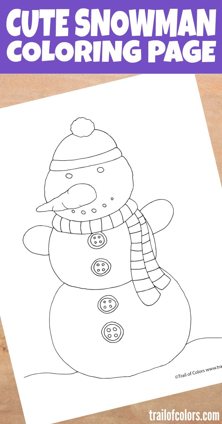 Snowman Coloring Page for Your Little Ones | Pinterest | Snowman ...
