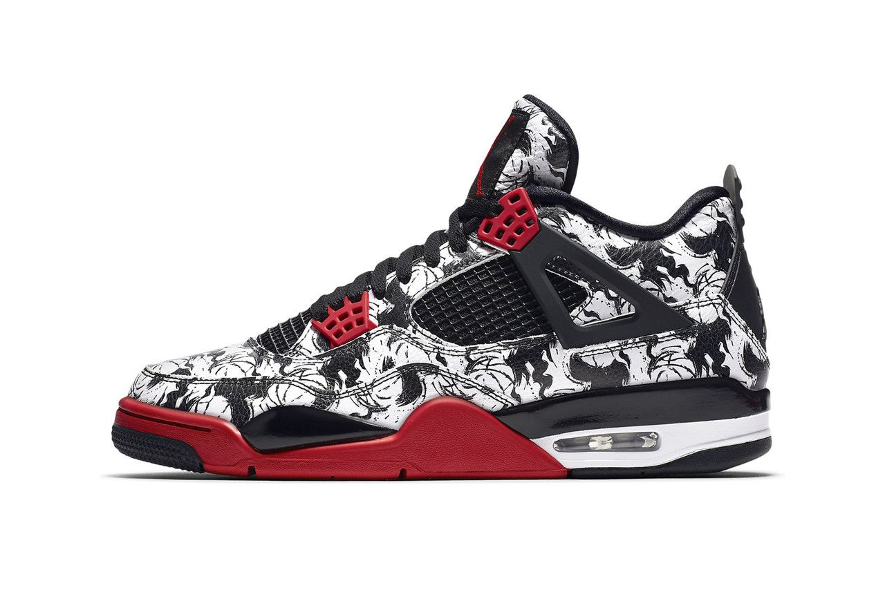 54900076 Air Jordan 4 Singles Day Tattoo StockX black white red sneakers basketball  michael jordan