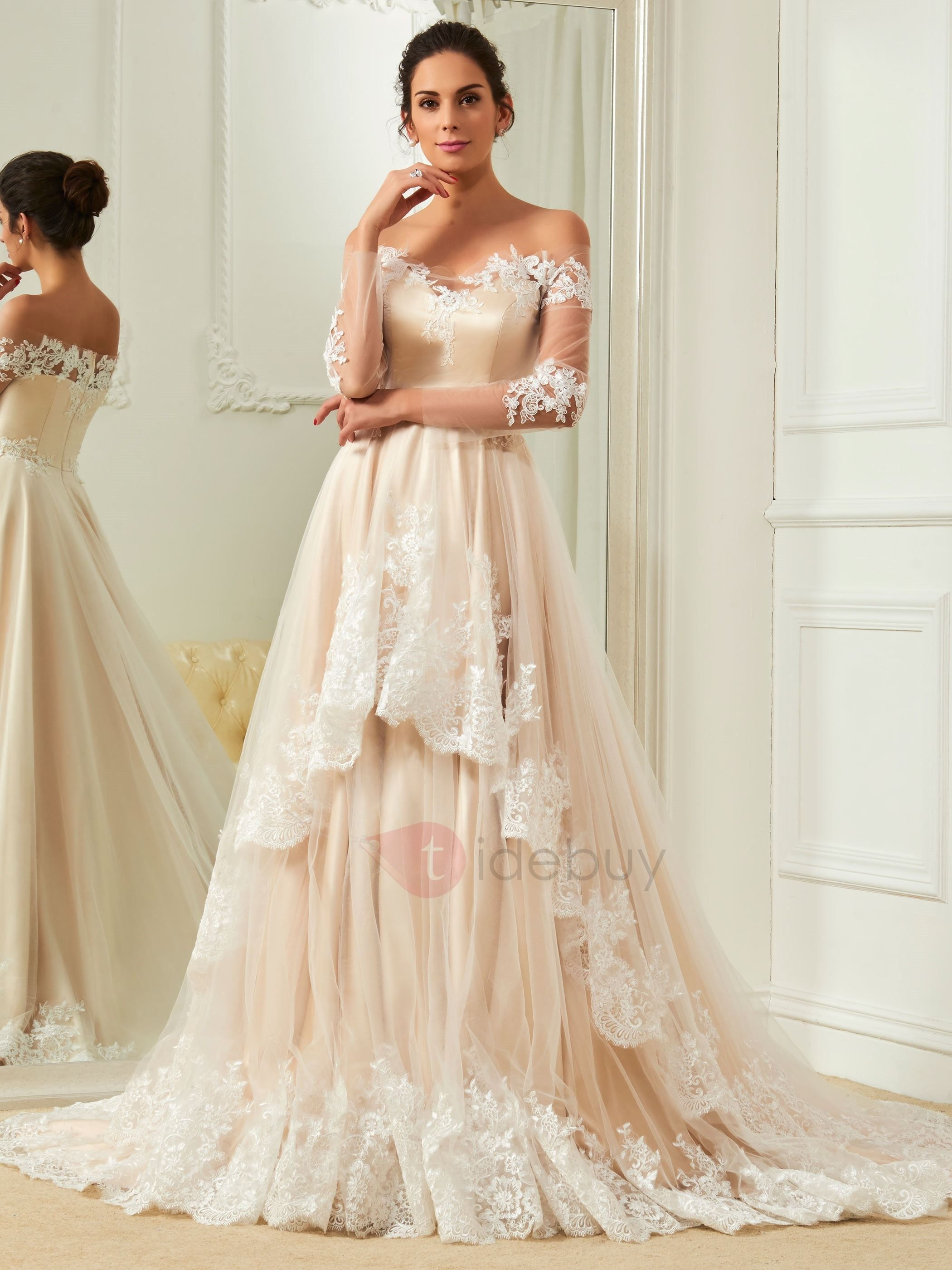 Different color wedding dresses  Elegant Appliques Off The Shoulder A Line Color Wedding Dress